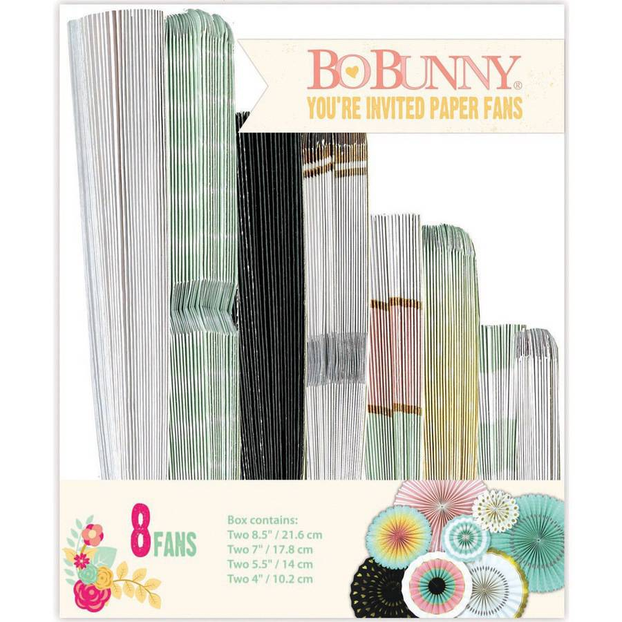 You're Invited Paper Fans, 8pk