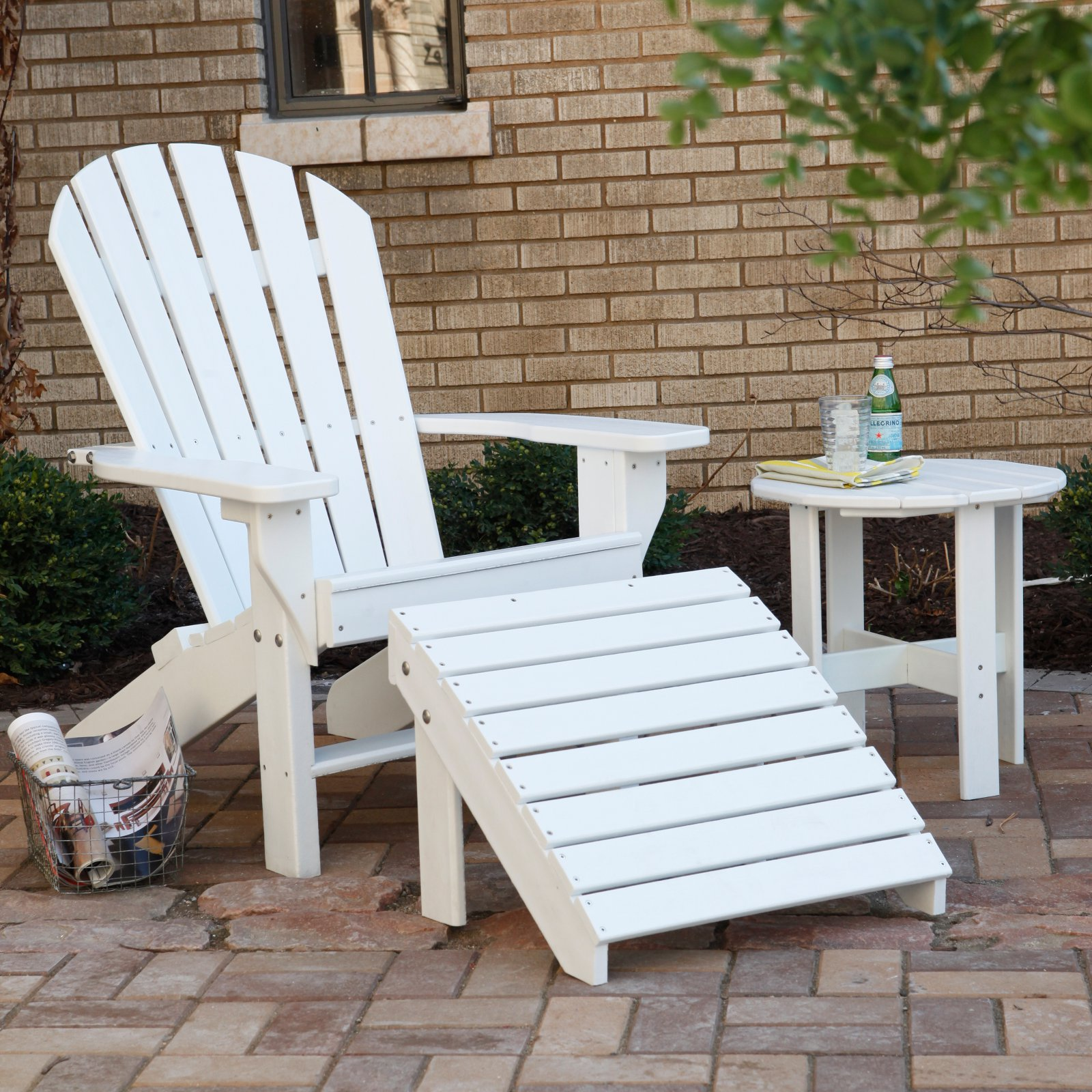 Jayhawk Plastics Seaside Adirondack Chair With Ottoman and Side Table