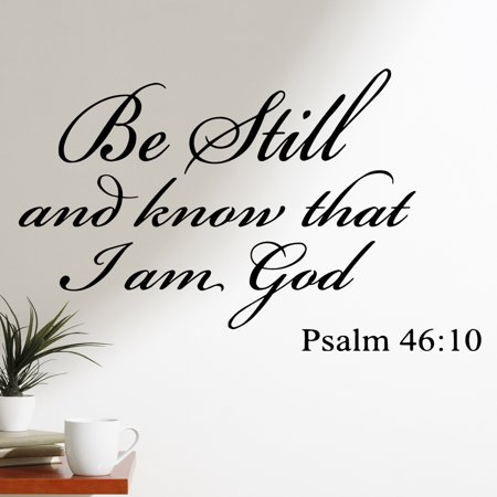 VWAQ Be Still and Know that I am God Psalm 46:10 Vinyl Wall Art Religious Home Decor Quote Bible Scripture Wall Decals ()