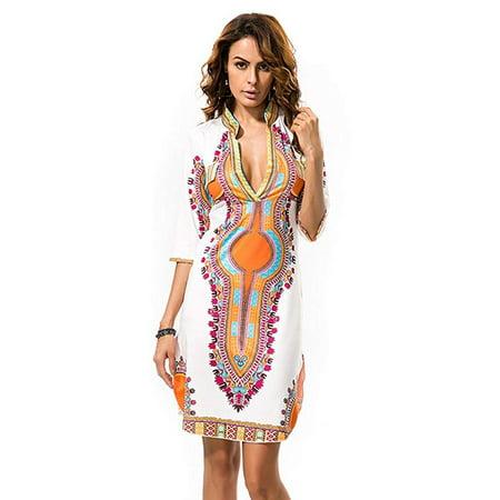 947fa4b329 VISTA - Women's Bohemian V Neck Vintage Printed Ethnic Style Summer Shift  Dress - Walmart.com