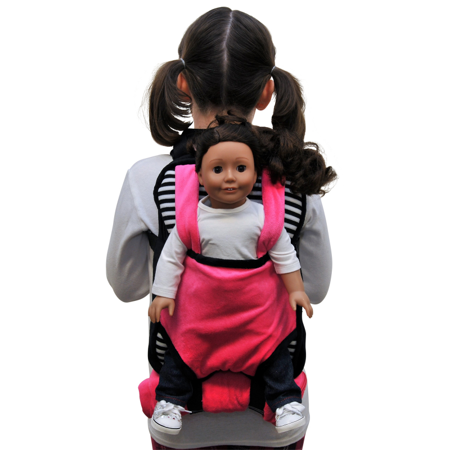 """Pink, Black & White Childs Backpack Doll Carrier & Sleeping Bag Clothes & Accessory Storage for 18"""" Dolls"""