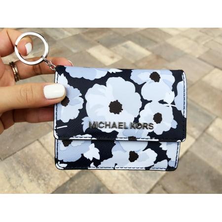 Michael Kors Jet Set Card Holder Key Ring Chain ID Navy Floral ()