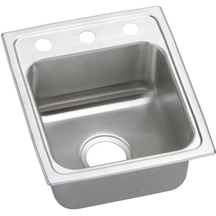 Elkay PSR15173 Gourmet Pacemaker Stainless Steel Single Bowl Top Mount Bar Sink with 3 Faucet Holes