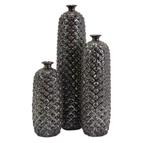 IMAX 10-17.75H in. Zurie Ceramic Bottles - Set of 3