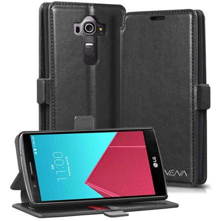 LG G4 Wallet Case - VENA� [vFolio   GENUINE Leather] Slim Vintage Flip Wallet Stand Case with Card Slots for LG G4 2015 (Not compatible With Leather LG G4) (Black / Red)