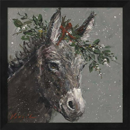 Metaverse R960364-0120000-AEAAAAEAN4 13.25 x 13.25 in. Mary Beth the Christmas Donkey Framed Wall Art by Mary Miller Veazie