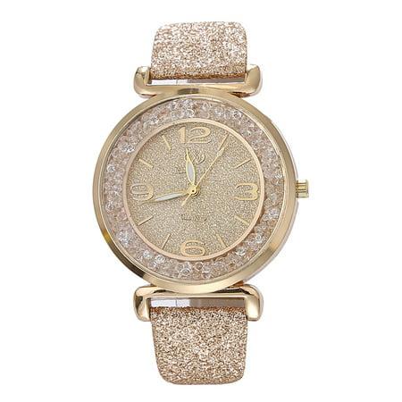 High Fashion Gold Dust Dress Sparkle Crystal Quality Fashion Woman Watch-288