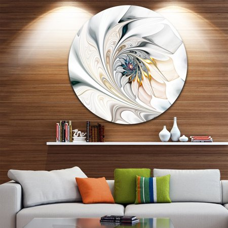 DESIGN ART Designart 'White Stained Glass Floral Art' Floral Circle Metal Wall - White Metal Wall
