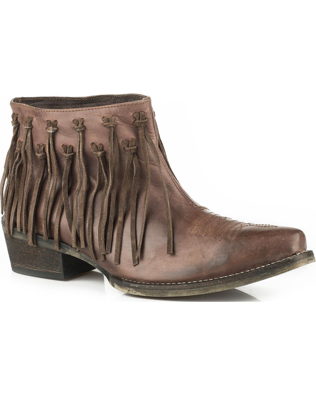 Roper Women's Burnished Leather Fringe Western Boot Snip Toe - 09-021-0977-1054 Br