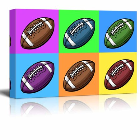 wall26 Canvas Wall Art - Multi-Color Pop Art with Football - Giclee Print Gallery Wrap Modern Home Decor Ready to Hang - 24