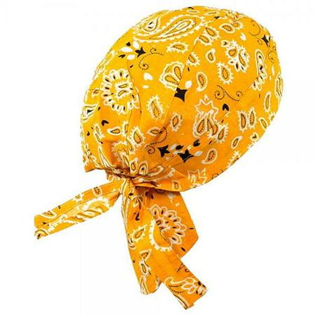 Paisley Doo Rag Du Rag Do Cotton Bandana Headwrap PICK COLOR Chemo Cap (Golden Yellow Paisley II) - Gold Bandanas