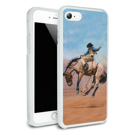 Slim Rodeo (Saddle Bronc Horse Cowboy Riding Rodeo Event Protective Slim Fit Hybrid Rubber Bumper Case Fits Apple iPhone 8)