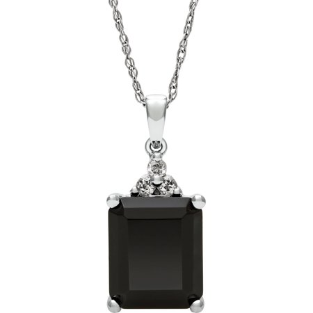 10mm x 12mm Black Onyx and White Topaz Sterling Silver Pendant, 18