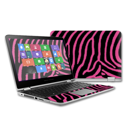 MightySkins Protective Vinyl Skin Decal for HP Pavilion x360 - 13 (2015) Touch Laptop case wrap cover sticker skins Zebra Pink