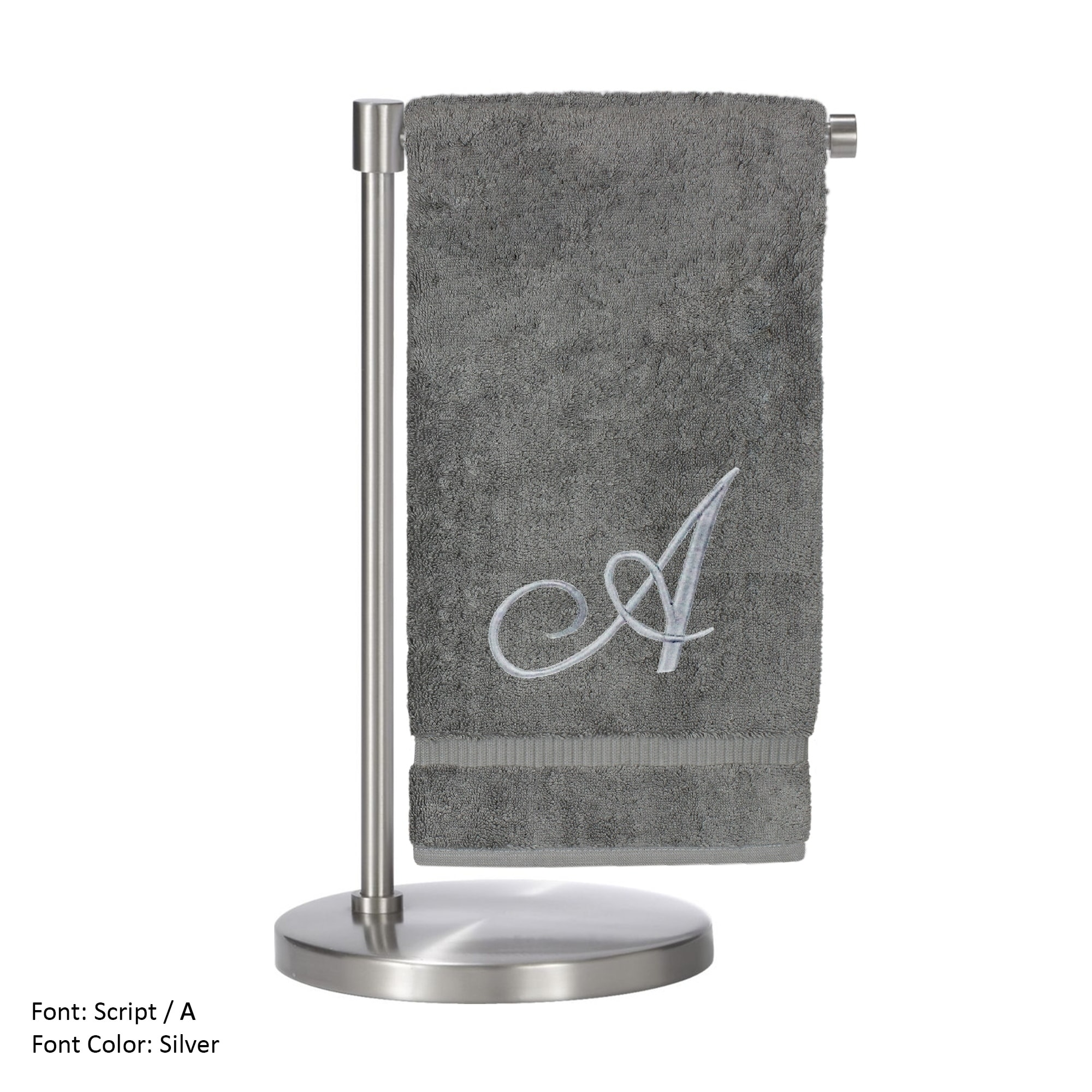 Monogrammed Bath Towel, Personalized Gift, 27 x 54 Inches - Set of 2 - Silver Script Embroidered Towel - 100% Turkish Cotton- Soft Terry Finish - For Bathroom,Kitchen or Spa - Script A Gray