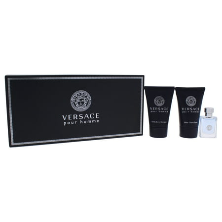 Versace Pour Homme by Versace for Men 3 Pc Mini Cologne Gift Set 0.8oz Hair & Body Shampoo, 0.17oz EDT Splash, 0.8oz After Shave Balm