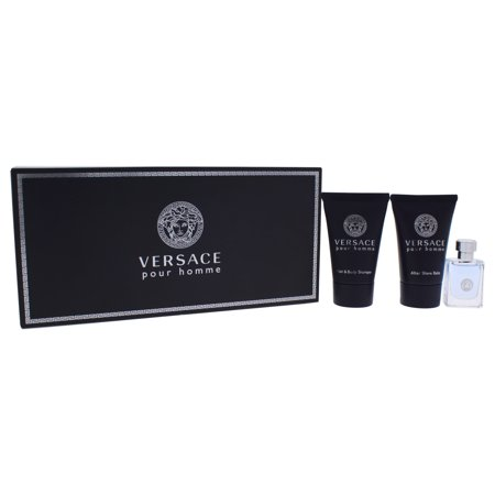 Versace Pour Homme by Versace for Men 3 Pc Mini Cologne Gift Set 0.8oz Hair & Body Shampoo, 0.17oz EDT Splash, 0.8oz After Shave - Mini Gifts