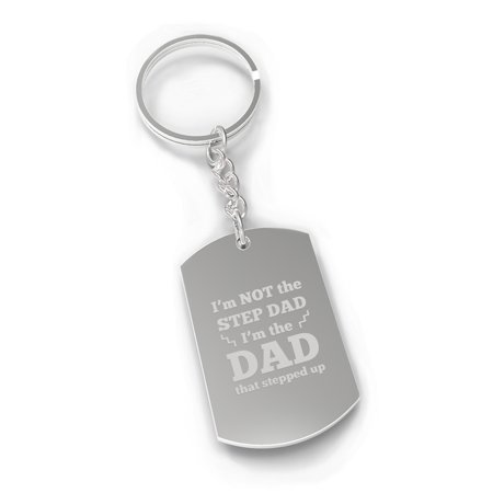 Step Dad Stepped Up Inspirational Gift Novelty Key Chain Engraved Inspirational Stones Key Chain