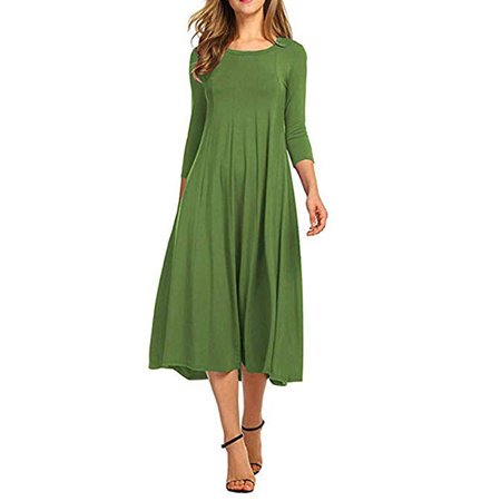 Women Dress Clearance Casual Half Sleeve Loose Ladies Evening Long Maxi Dress (Ladies Dresses Casual)