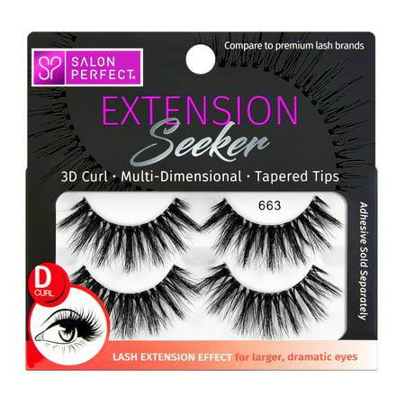 Salon Perfect Extension Seeker D-Curl False Eyelashes, 2 Pack,