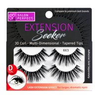 Salon Perfect Extension Seeker D-Curl False Eyelashes, 2 Pack, 663