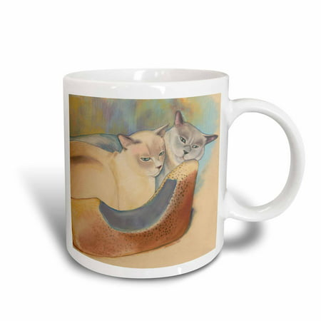 3dRose Cats two cats Tonkinese cats cuddling pastel painting pet portrait cats cat bed, Ceramic Mug, 15-ounce