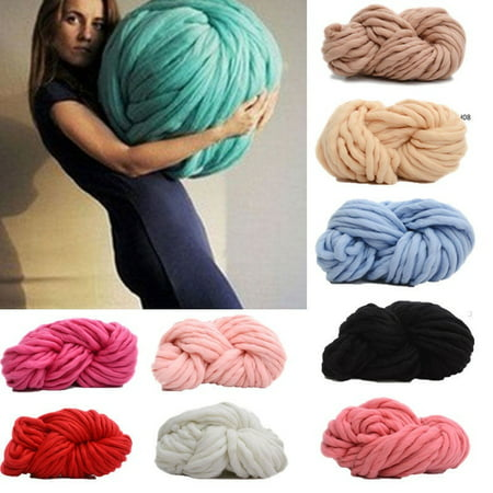 Practical Chunky Wool Yarn Super Soft Bulky Arm Knitting Wool Roving Crocheting DIY New ()