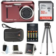 KODAK PIXPRO Friendly Zoom FZ43 Digital Camera (Red) w/ 32GB SD & Case Bundle