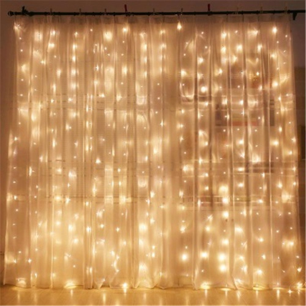 String Lights Curtain, 600 LED Icicle Wall Lights, Fairy ...
