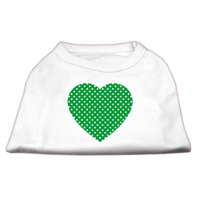 Green Swiss Dot Heart Screen Print Shirt White XL - 16