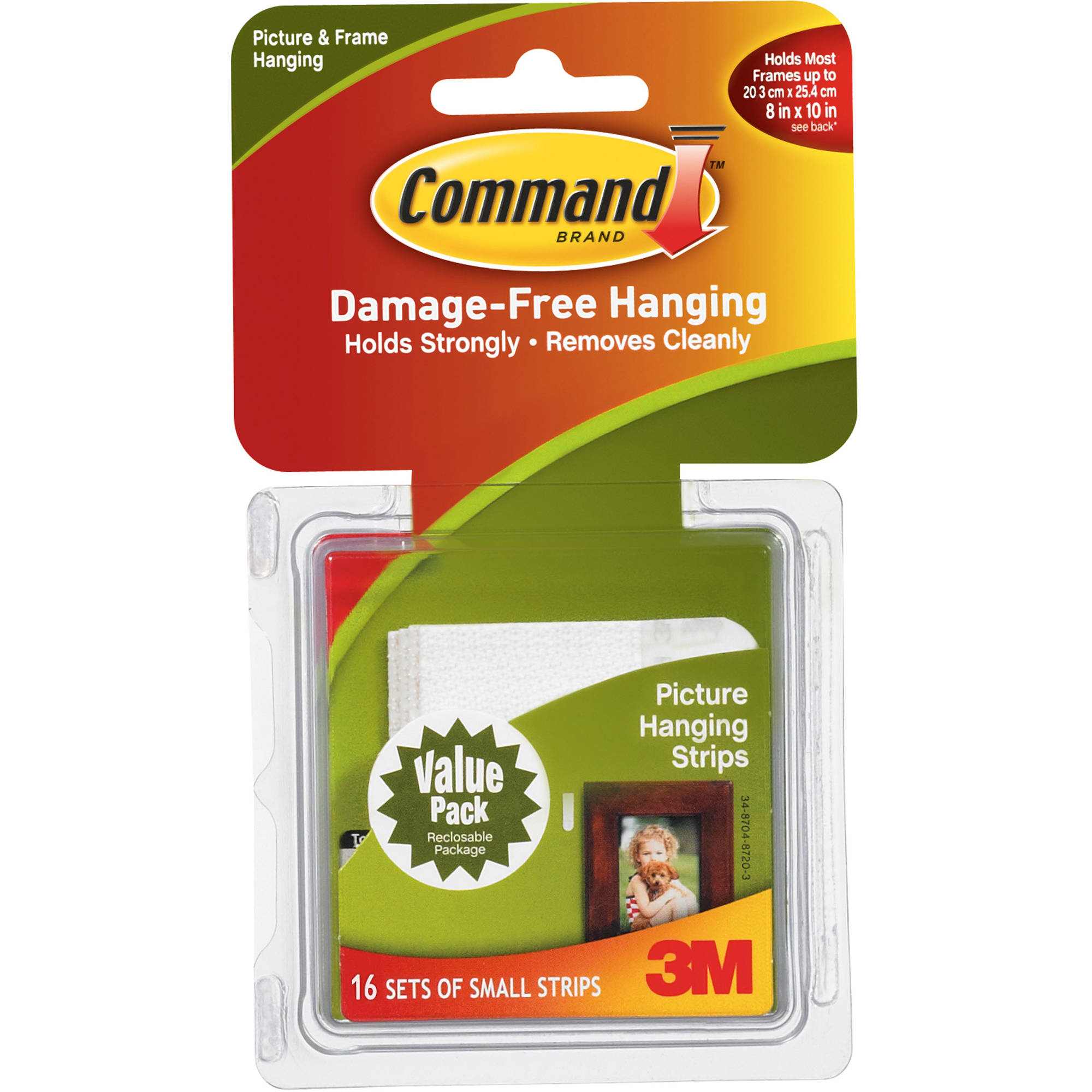 Command Small Picture Hanging Strips, White, 16 Sets of Strips, 17205VP-WM