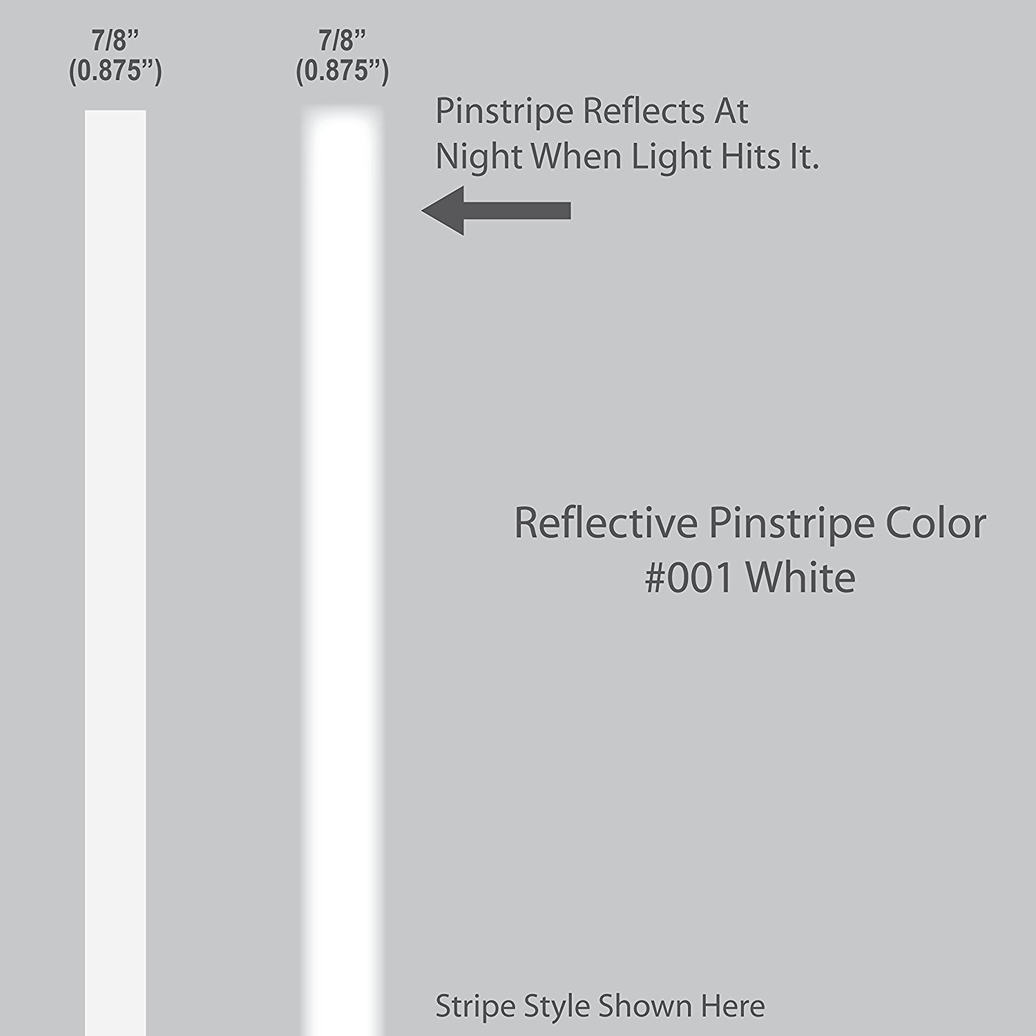7 8� inch wide REFLECTIVE Pinstripes.   WHITE   car truck auto vehicle door motorcycle vinyl sticker pin strip... by 1060 Graphics