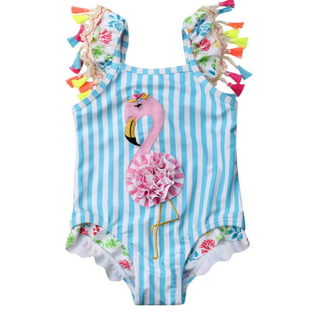 fb38523a Gaono - Toddler Baby Kid Girls Stripes Flamingo Bikini One Piece Beach  Bathing Suit Swimwear - Walmart.com