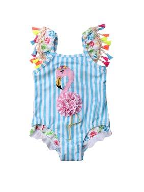 Toddler Baby Kid Girls Stripes Flamingo Bikini One Piece Beach Bathing Suit Swimwear