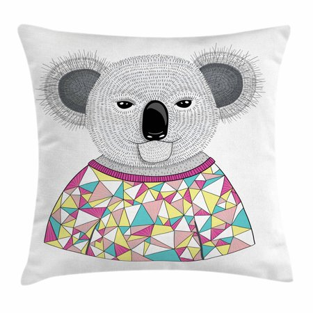 Koala Throw Pillow Cushion Cover, Hipster Koala with Colorful Polygonal Shirt with Angular Triangles Australian Animal, Decorative Square Accent Pillow Case, 16 X 16 Inches, Multicolor, by (Angular Faces)