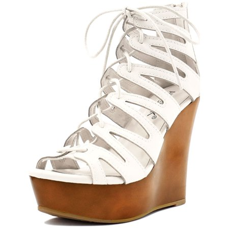 Unique Bargains Women Open Toe Lace-Up Cutout Platform Wedge Sandals White US 6 ()