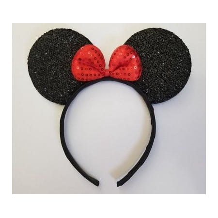 LWS LA Wholesale Store  1 Red Sequin Bow Minnie Ear Headband Wedding Mickey Disney Princess MICKEY PARTY (Pig Ear Headband)