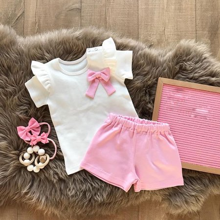 2019 Newborn Girl Kid Bowknot Ruffle Tops Pants Cotton Summer Clothes Outfits 6-12