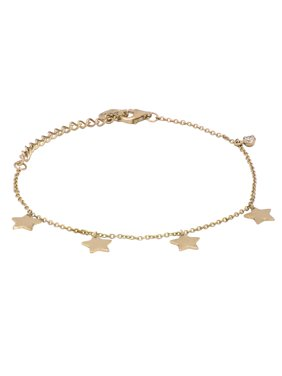 Round Cubic Zirconia Star Bracelet 6.5 and 1.5 inch in 14K Gold Plated Sterling Silver