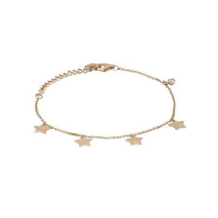 Round Cubic Zirconia Star Bracelet 6.5 and 1.5 inch in 14K Gold Plated Sterling Silver Zirconia Circular Bracelets