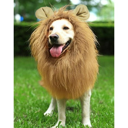 YOUTHINK Lion Mane for Dog Large Medium with Ears Pet Lion Mane Costume Button Adjustable Holiday Photo Shoots Party Festival Occasion Light Brown - Sea Lion Dog Costume