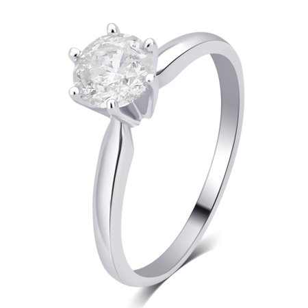 1/2 Carat T.W. Round Diamond 14K White Gold Solitaire Engagement Ring