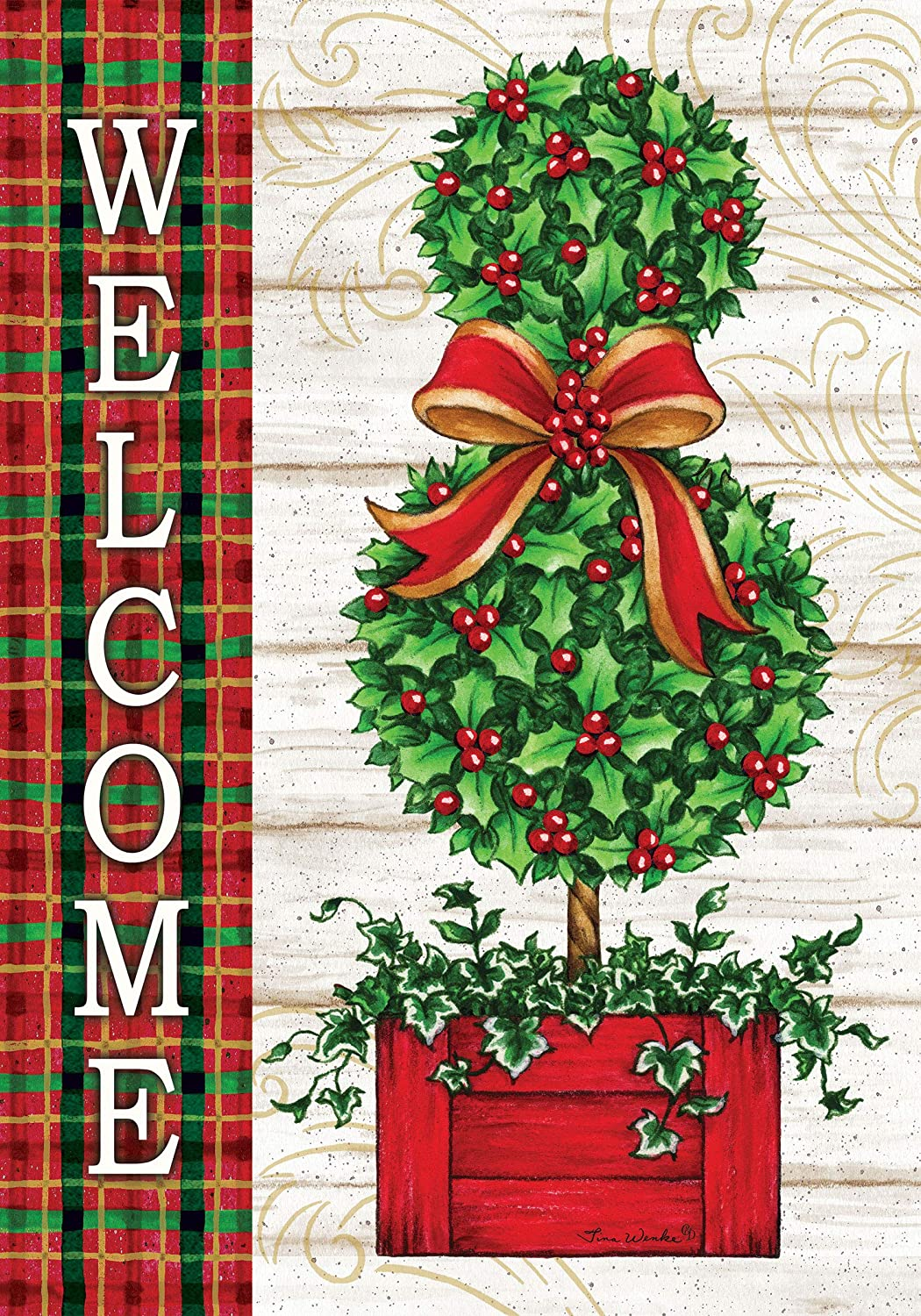 Custom Decor Christmas Topiary Garden Size Decorative Double Sided Licensed And Copyrighted Flag Printed In The Usa Inc 12 Inch X 18 Inch Approx Size Walmart Com Walmart Com