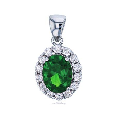 Sterling Silver Rhodium 9x7mm Oval Cut Emerald & Clear CZ Rd Cut Halo Pendant