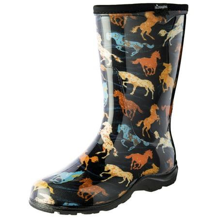 Sloggers 5018HSBK09 Size 9 Women's Horse Spirit Black Rain & Garden Boots (Size 9 Snowboard Boots)