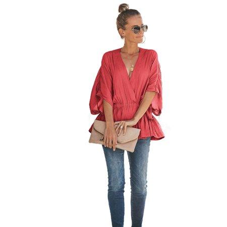 - Women Ruffle Tunic Tee Shirts Short Sleeve V Neck Wrap Loose Blouse