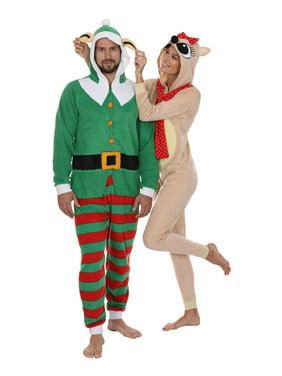 Secret Santa Mens Elf and Reindeer Hooded Christmas Union Suit Pajama, Womens Reindeer, Size: S