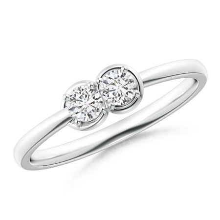 Two Stone Diamond Infinity Knot Ring with Prong Set in Platinum (Weight: 0.25ctwt)