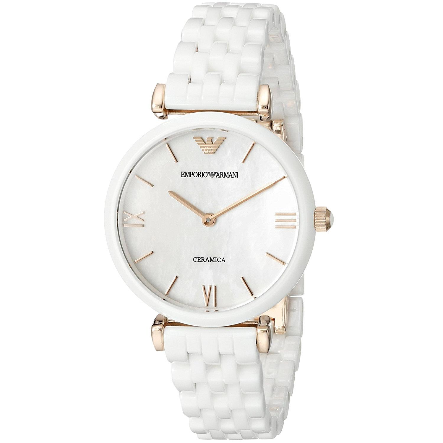 Emporio Armani Women's 32mm White Ceramic Band & Case Qua...