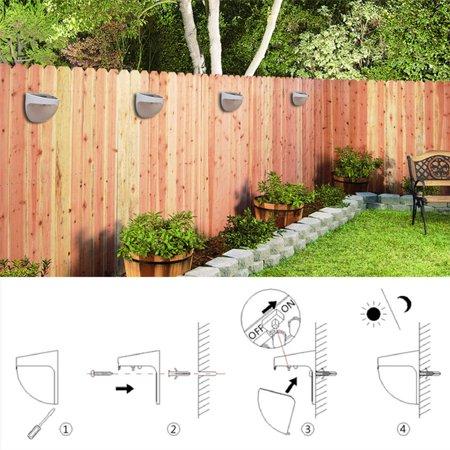 Ktaxon 6-LED Solar Powered Garden Security Light Outdoor Fence Wall Lamp Waterproof - image 3 de 6